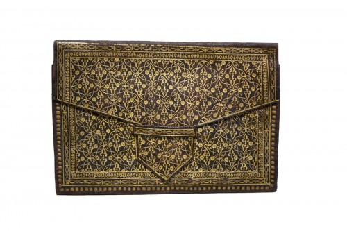 Red leather mail pouch, 19th century