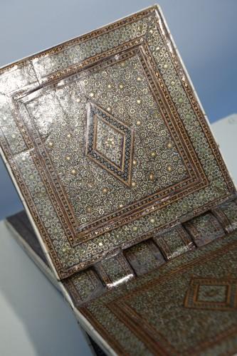 """Religious Antiques  - Inlaid Coran holder""""khatam kari"""",Persia,19th century."""