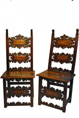 Pair of large Italian chairs,Lombardy,17th century.