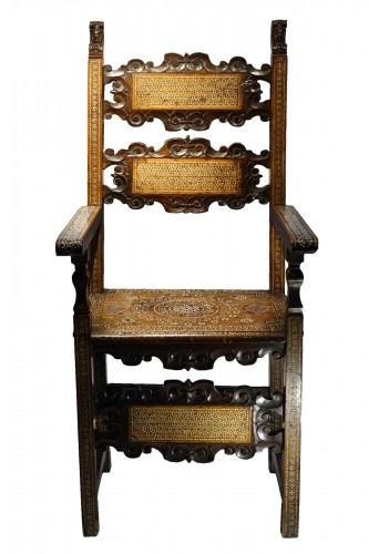 "Large walnut armchair with "" a certosina"" ornamentation, Italy, circa 1830."