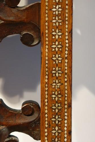 "19th century - Large walnut armchair with "" a certosina"" ornamentation, Italy, circa 1830."