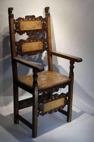 "Antiquités - Large walnut armchair with "" a certosina"" ornamentation, Italy, circa 1830."