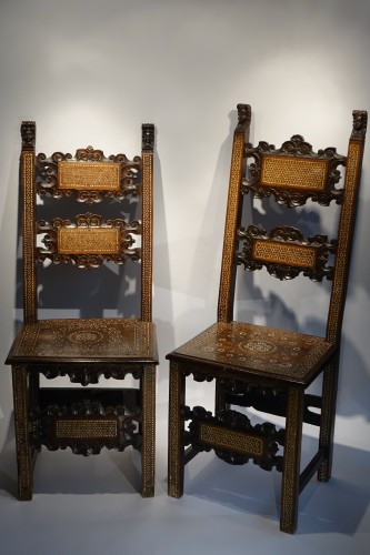 "Two Italian chairs decorated in ""certosina"", 17th and 18th century."