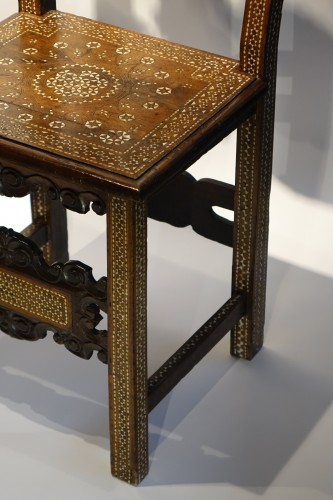"Louis XIV - Two Italian chairs decorated in ""certosina"", 17th and 18th century."