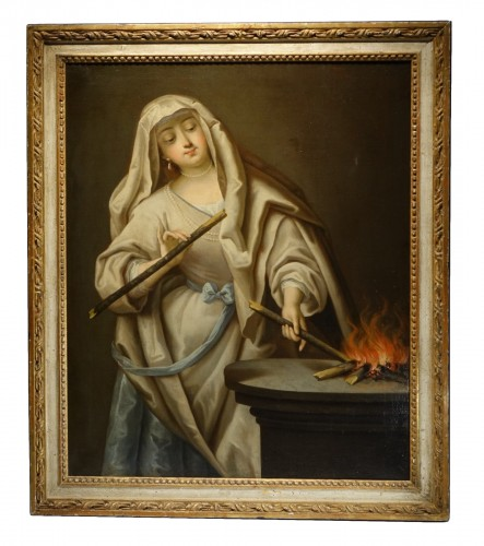 Vestal reviving the sacred fire, French school,18th c.