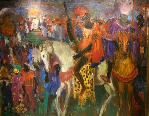 Royal procession in Africa,oil on canvas,Paul HANNAUX,around 1930