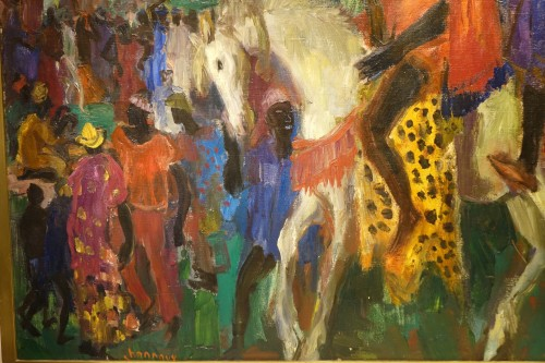 Royal procession in Africa,oil on canvas,Paul HANNAUX,around 1930 - Paintings & Drawings Style Art Déco