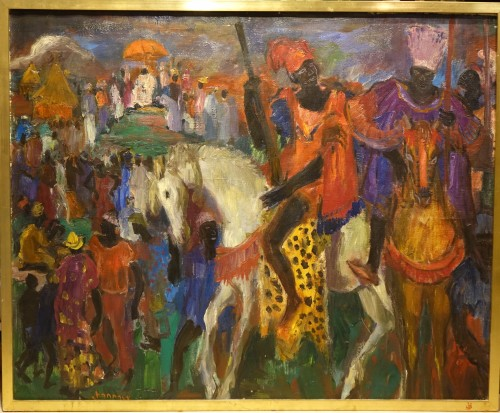 Royal procession in Africa,oil on canvas,Paul HANNAUX,around 1930 -