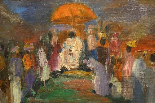 20th century - Royal procession in Africa,oil on canvas,Paul HANNAUX,around 1930