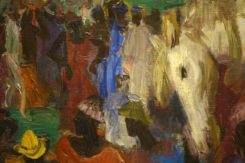 Royal procession in Africa,oil on canvas,Paul HANNAUX,around 1930 - Art Déco
