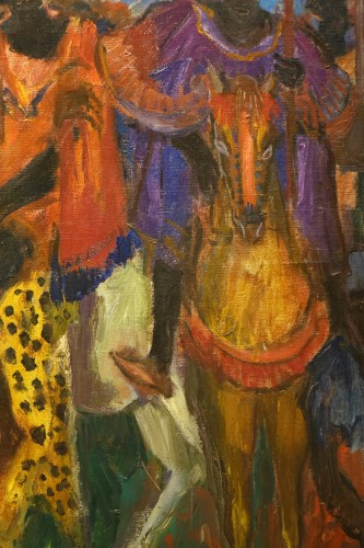 Antiquités - Royal procession in Africa,oil on canvas,Paul HANNAUX,around 1930