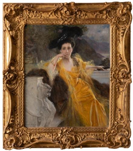 Portrait of Mrs FOULD, dated 1903 - Francois FLAMENG (1856-1923)