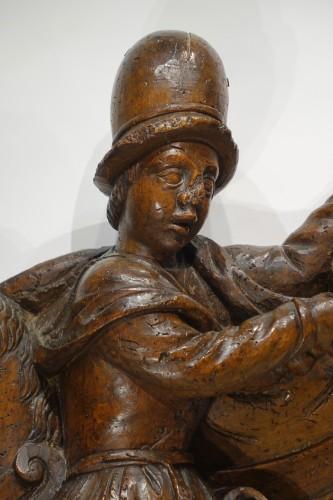 Saint Martin sharing his coat,south of France, 16th c.  - Sculpture Style Renaissance