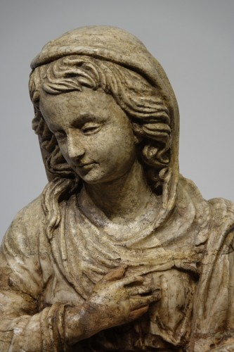 Alabaster statue of the Virgin of the Annunciation,Italy,16th c. - Sculpture Style Renaissance