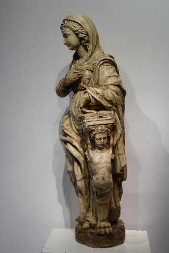 Antiquités - Alabaster statue of the Virgin of the Annunciation,Italy,16th c.