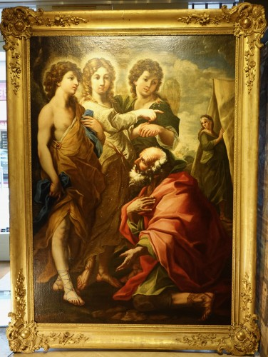 The visit of the three angels to Abraham - 17th century Roman School - Paintings & Drawings Style Louis XIV