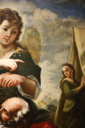 Antiquités - The visit of the three angels to Abraham - 17th century Roman School