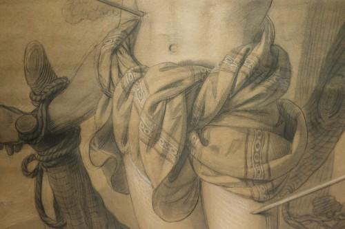 Paintings & Drawings  - Very large drawing representing  Saint Sebastian as a martyr, circa 1790