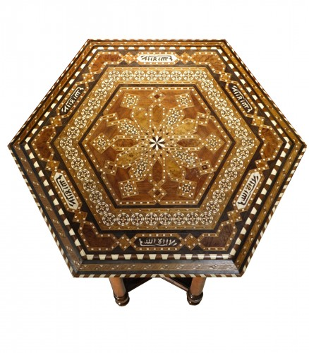 Hexagonal table with geometrical decorations,Egypt or Syria,circa 1930