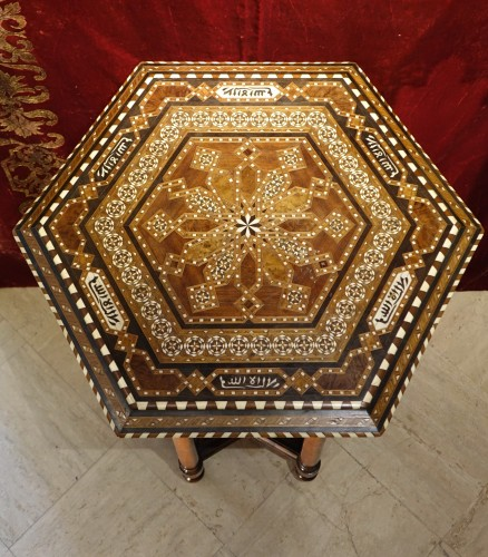 Hexagonal table with geometrical decorations,Egypt or Syria,circa 1930 - Art Déco
