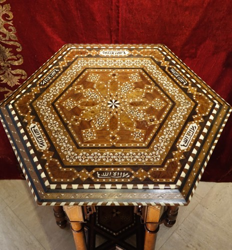 Art Déco - Hexagonal table with geometrical decorations,Egypt or Syria,circa 1930