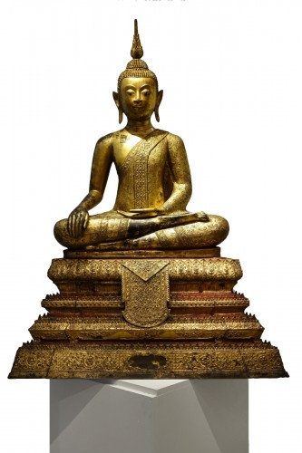 A huge bronze Bouddha on his base , Thailand,2nd half of the 19th c.