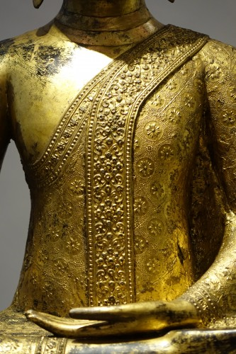 A huge bronze Bouddha on his base , Thailand,2nd half of the 19th c. -