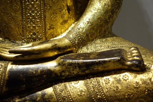 A huge bronze Bouddha on his base , Thailand,2nd half of the 19th c. - Napoléon III