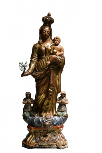 A  gilt polychrome terracotta Virgin and Child , Italy, 18th c.