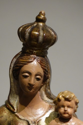 Sculpture  - A  gilt polychrome terracotta Virgin and Child , Italy, 18th c.