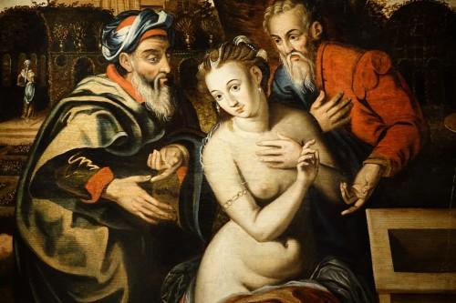 Paintings & Drawings  -  Susanna and the Elders, oil on oak panel, Antwerp, circa 1580