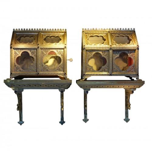 Pair of reliquary caskets, goldsmith H.E. LESAGE, circa 1890