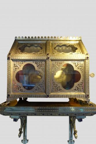 Pair of reliquary caskets, goldsmith H.E. LESAGE, circa 1890 - Antique Silver Style Napoléon III