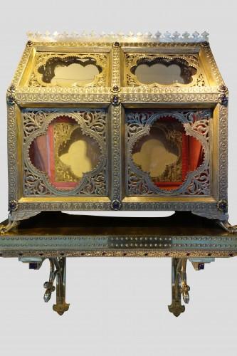 Antique Silver  - Pair of reliquary caskets, goldsmith H.E. LESAGE, circa 1890