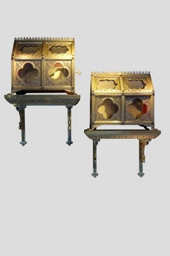 Pair of reliquary caskets, goldsmith H.E. LESAGE, circa 1890 -