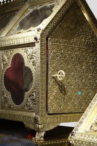 Antiquités - Pair of reliquary caskets, goldsmith H.E. LESAGE, circa 1890