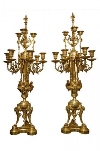 Importante paire de candélabres en bronze à 18 bras de lumière,France,vers 1870