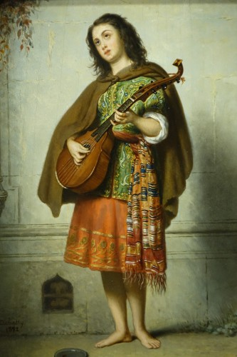 Mandolin player - Adolphe Henri DUBASTY (1814-1884)