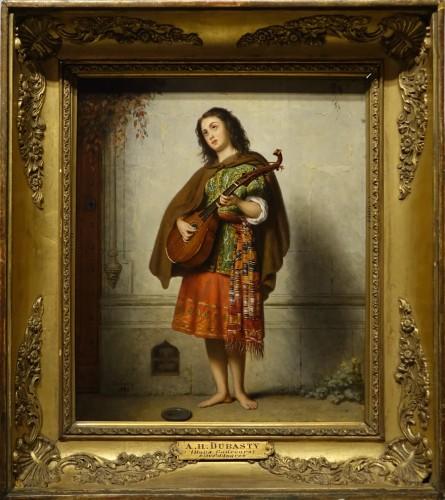 Mandolin player - Adolphe Henri DUBASTY (1814-1884) - Paintings & Drawings Style Napoléon III