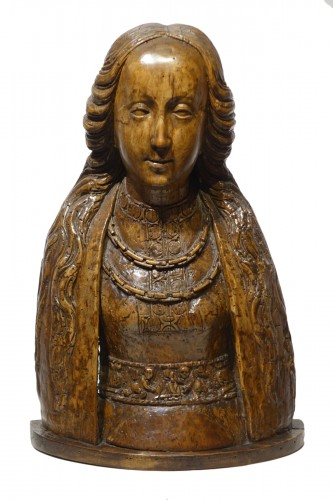 Bust of Saint or reliquary bust - North of France or Flanders, circa 1500