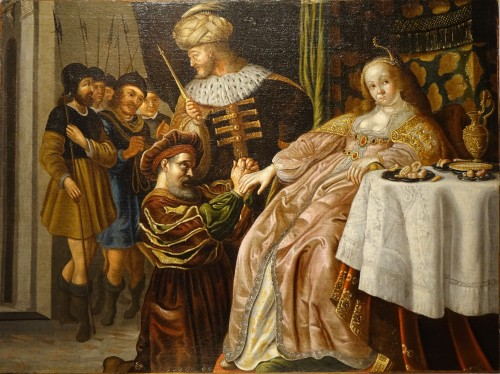 Haman imploring the Clemency of Esther- Flemish school late 17th
