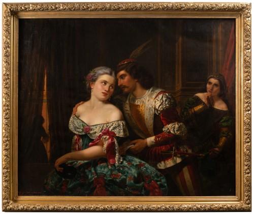 19th century -  A gallant scene during the Venice Carnival - Guffens 1878