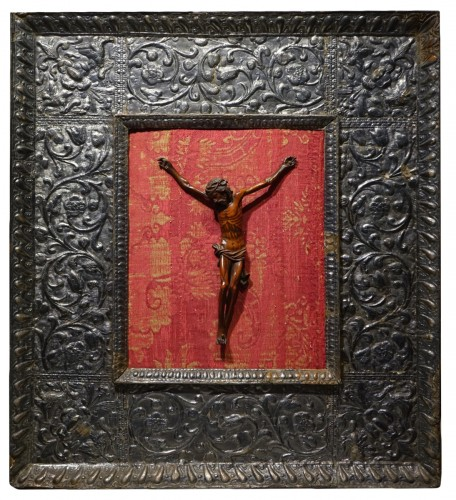 17th century boxwood Christ in a 16th century silver frame, Venice.