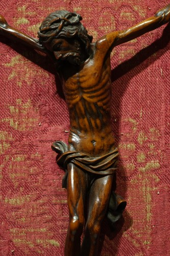 17th century boxwood Christ in a 16th century silver frame, Venice. - Renaissance