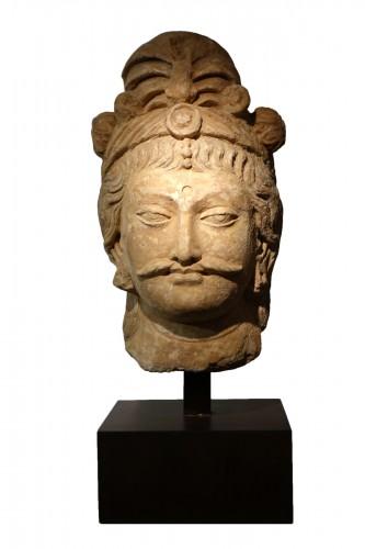Large head of Bodhisattva, Greco-Buddhist art of Gandhara, 1st-5th c. AD