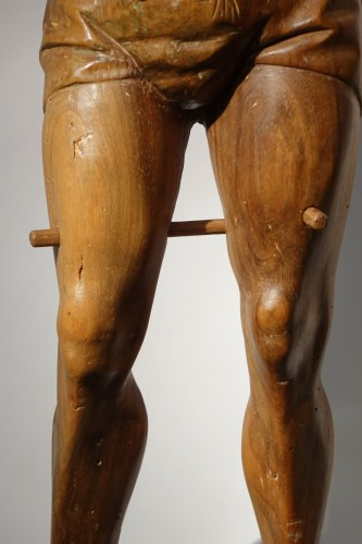 San Sebastian, walnut with traces of polychromy, Italy,15th century -