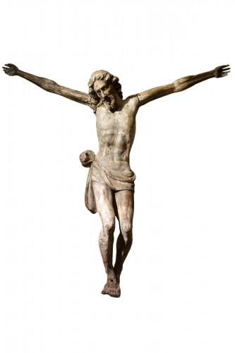 Large Christ in carved wood rechampi, Italy 16th-17th century