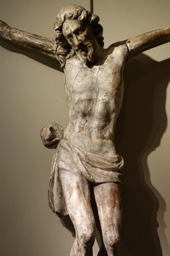 Large Christ in carved wood rechampi, Italy 16th-17th century - Religious Antiques Style Renaissance