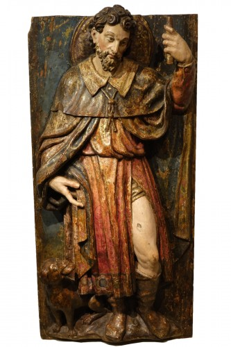 Saint Roch, painted wood high relief sculpture, Spain late 16th - early 17th century