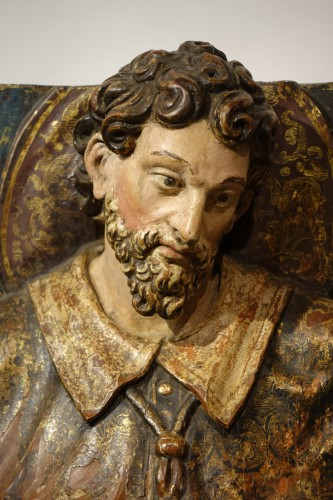 Saint Roch, painted wood high relief sculpture, Spain late 16th - early 17th century - Religious Antiques Style Renaissance